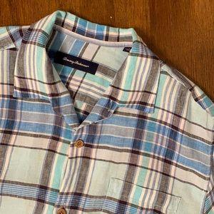 Tommy Bahama linen Hawaiian camp shirt L